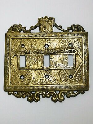 Vintage Brass Ornate Royal Triple Switch Light Plate Cover