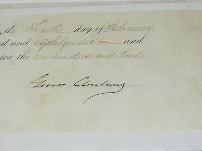President Grover Cleveland Signed commission Cutout 1886 Authentic Guaranteed