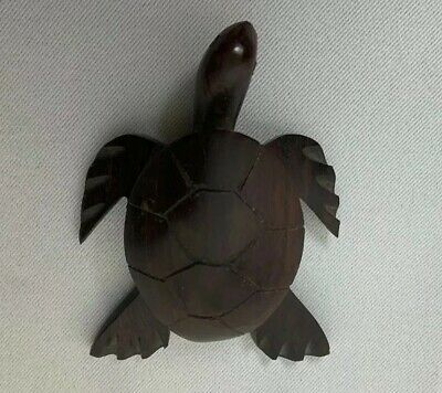 Wooden Carved sea Turtle made of dark Wood Ocean Collectibles