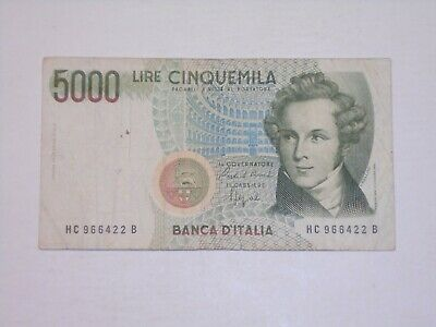 ITALY 1992 5000 LIRE CIRCULATED BANKNOTE P-111b.2