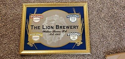 Rare The Lion Brewery Wilkes Barre PA Pocono Beer Mirror Wood Framed Vintage