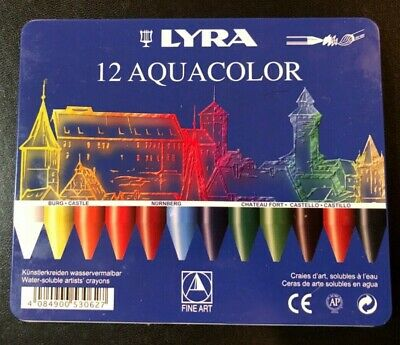 Dixon Lyra Aquacolor Water-Soluble Crayons 24//Pkg-Assorted Colors