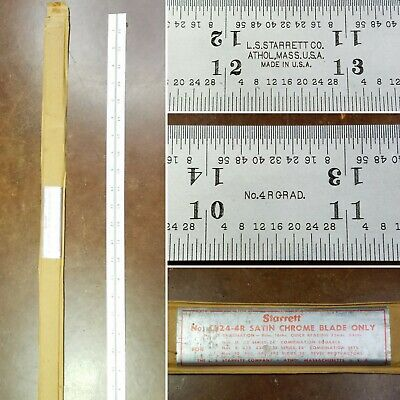 "L. S. STARRETT No. CB24-4R 24"" Blade for Combination Square Satin Chrome Ruler"