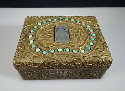 Antique Chinese Jade & Turquoise Brass Box -   55416