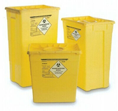 GIMA Waste Contaner wth Sngle Ld, 30 L, sharpsafe bn, needles and srynges