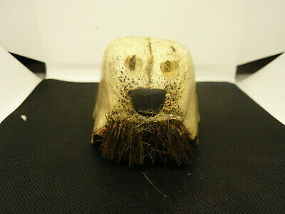 Old Vtg Inuit Eskimo Indian Carved Fossil Carving
