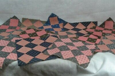 antique blocks quilt square patchwork 11 in. red blue gray 13 pc cotton 19 th c