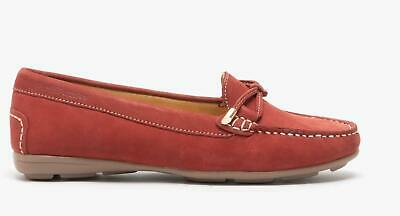 Hush Puppies MAGGIE Ladies Womens Nubuck Leather Slip On Tassel Loafers Red