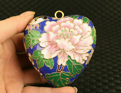 chinese old Cloisonne flower pendant collect heart netsuke collection gift