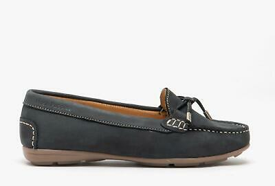 Hush Puppies MAGGIE Ladies Womens Nubuck Leather Slip On Tassel Loafers Navy