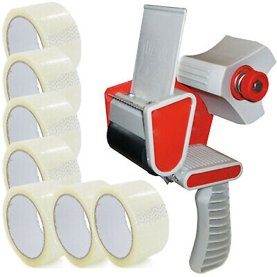TAPE GUN DISPENSER + 12 HUGE ROLLS OF CLEAR 48MM x 66M PARCEL PACKING TAPE