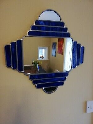 Stunning Art Deco Style Stained Glass Mirror