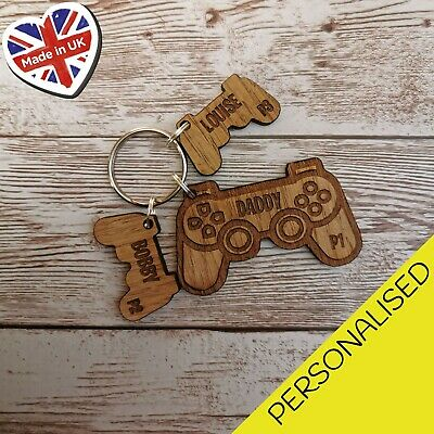 Game Controller Xbox Player Wooden Keyrings For Dad Grand Dad Son Daughter Gift