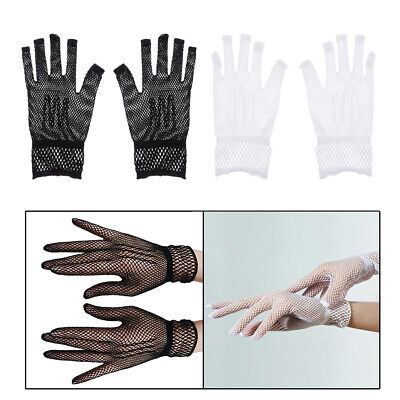 1Pair Short Mesh Gloves Fishnet Lace Gloves Women Wedding Victorian Style Party