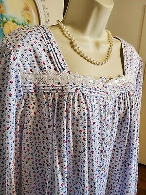 NWT Medium M Eileen West Nightgown Gown NEW 100% Cotton Knit Long Sleeve