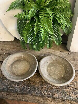 Vintage Antique Pair Hand Carved Stone Marble Bowl Dish Plate Platter