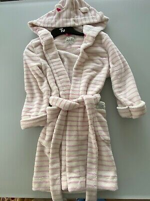 Girls Joules Pink/white Striped Dressing Gown Age 7-8 VGC
