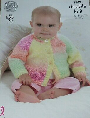 King Cole Baby DK Double Knitting Pattern Lacy Detail Sweaters /& Cardigans 4673