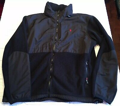 Vintage Polo Ralph Lauren Mens Full Zip Fleece Jacket Black Hood Size XL 90's