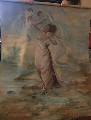 Antique Hand Painted Tapestry-1920's- French Woman & Cherubs/Putti-Gorgeous