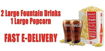 AMC Theaters 2 Large Drinks & 1 Large Popcorn--Fast E-Delivery Expires  12/31/20