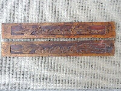 134P. Antique Carved Gold Gilt Wood Panel  two pcs/set with Flower