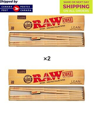 RAW Classic Natural Unrefined Pre Rolled Cones | Lean Size | 40 Cones/2Pack DEAL