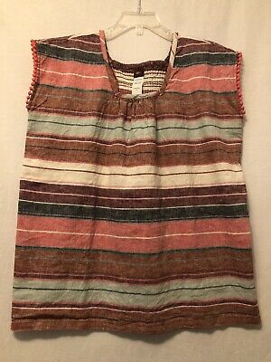 New! Size 8 TEA COLLECTION girls RAYA ARGENTINA linen blend striped top