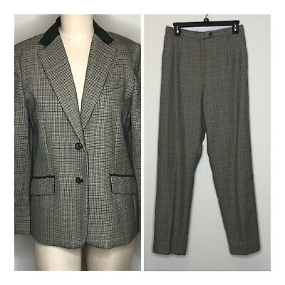 Vtg Womens Pendleton Virgin Wool Suit Pants And Blazer Green Houndstooth  SZ 8