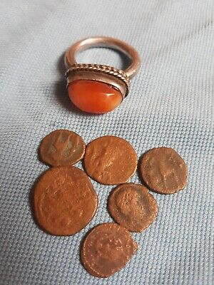 2000 Year Old Roman Ring And Coins