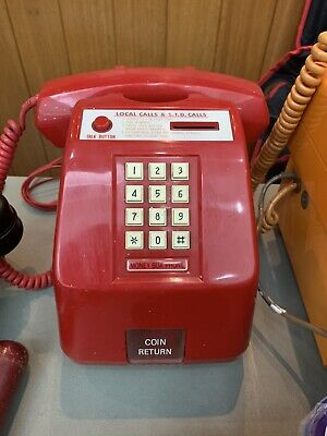 "Red pay phone CT2100 push button 70""s"
