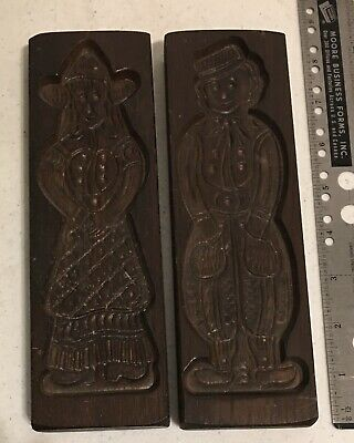 Antique Dutch Wood Carved Cookie Mold Lot Of 2 Man And Woman 8.25 Tall