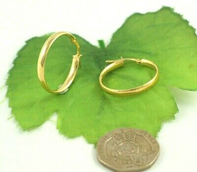 1.3gm/'s 9ct 375 Yellow /& White Gold Medium Size 22mm Creole Hoop Earrings
