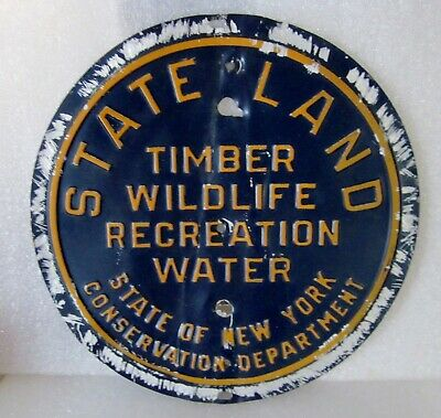 VTG 1950's NY State Land Sign Timber Wildlife Recreation Water Squirrel Chewed