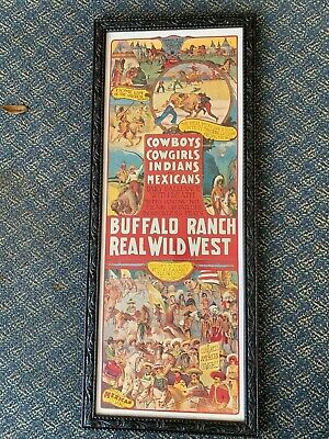 Vintage Re-print Buffalo Ranch Real Wild West Poster Cowboys Cowgirls Mexicans