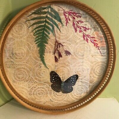 Butterfly Wings Dried Flowers Under Glass Vintage Wood Round Serving Tray