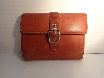 Vintage Coach leather wallet buckle light stitching Coin Purse saddle color