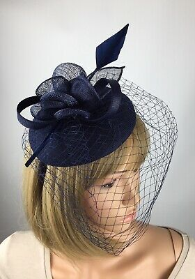 Navy Blue Fascinator Hat Wedding Hatinator Mother Of The Bride Groom Ascot Races