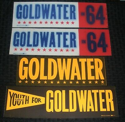 """1964 Barry Goldwater COLLEGE YOUTH FOR 10 12 & 15"""" Bumper Sticker LOT of 6"""