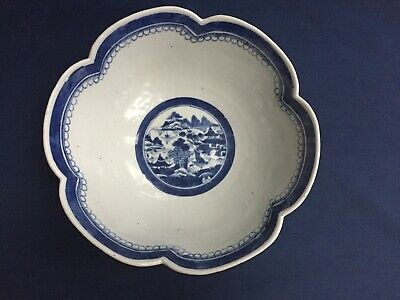 """Vintage Antique Chinese Export Blue & White Canton Scalloped Bowl 9 3/4"""""""