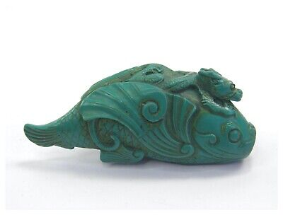 Antique Chinese hand carved green stone figural snuff bottle fish dragon