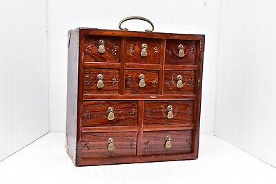 Chinese Medicine Apothecary Cabinet Altar Table Drawers Case wood Brass details