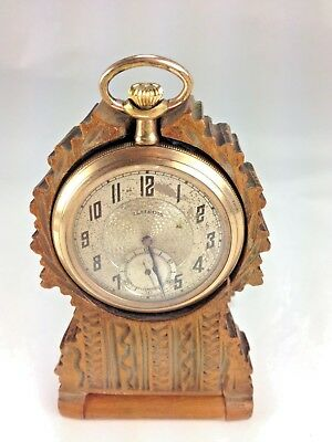 Antique  German Black Forest Hand  Carved Wood Ornate  Pocket Watch Holder
