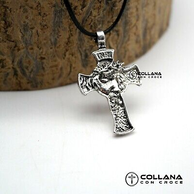 Collana con catena ciondolo Croce viso Jesus Collanina Crocifisso color silver