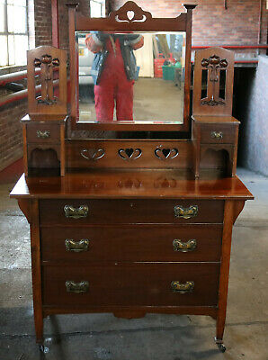 Mahogagany vintage Edwardian dressing table 1910 with mirror and drawers