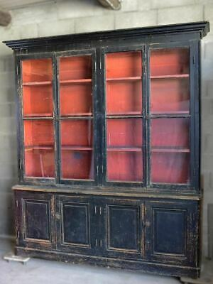 """19th Century French bookcase with black paint finish 6' 9"""""""