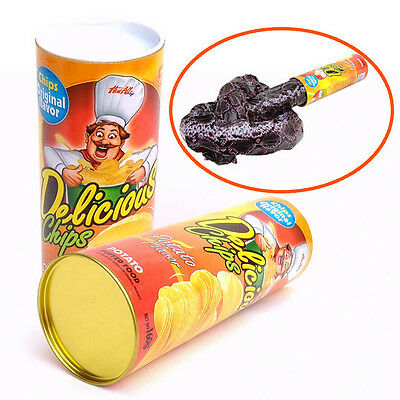 Trick Potato Chip Can  Novelty Joke Prank Jump Snake Funny Tricky Toys_sU op