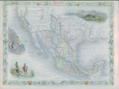 "1850 - RARE Antique Map ""MEXICO CALIFORNIA TEXAS"" USA by TALLIS COLOUR (56)"