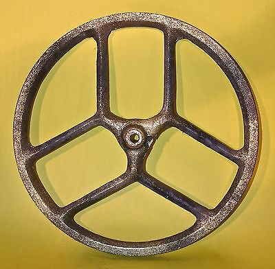 1880 Steampunk Vintage Industrial Primitive Cast Iron Flywheel Old Gold Colour