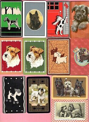 Vintage  Playing cards swap card B /& W whisky dogs scotty westie drink advert